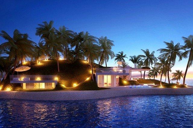 Плавающий частный остров. Ночной вид