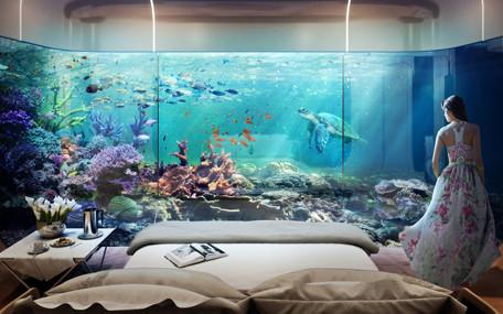 Спальня в подводном уровне